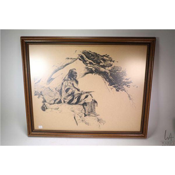 "Framed pen stippled original drawing of a native elder signed by artist L. Mustache, 23"" X 28"". Not"