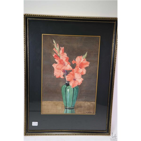 """Two framed watercolour paintings including one titled on verso """"Sidewalk Cafe"""" and signed by artist"""