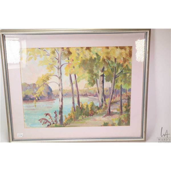 Two framed original artworks including acrylic on canvas of a walking path on the north side of the