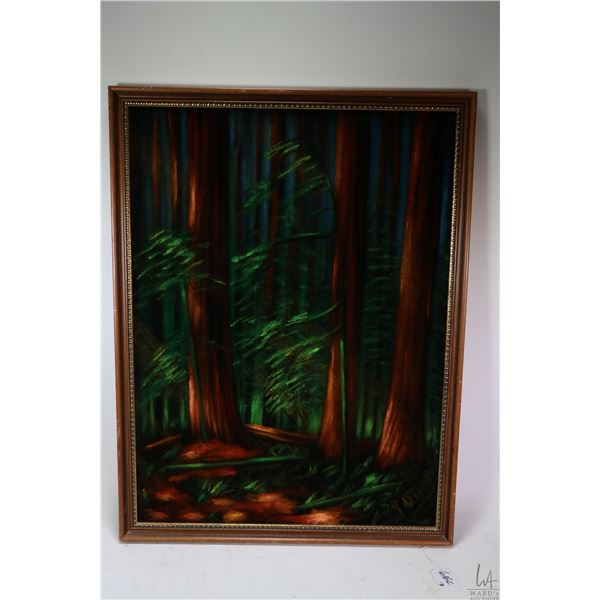 Two campy framed pictures for your 1970's rompus room including painting on velvet on a forest and a