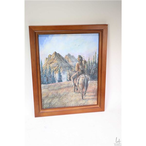 """Framed acrylic on board painting of a mounted warrior signed by artist Wm. Earl McBeath, 14"""" X 11"""""""