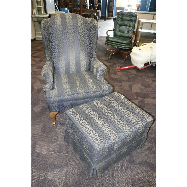 Upholstered wing back chair with matching ottoman