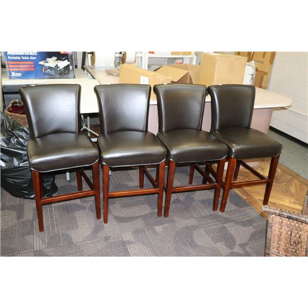 """Four modern breakfast stools with high backs and 24"""" high seats"""