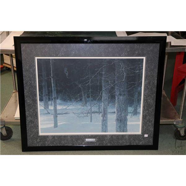 "Framed limited edition print titled ""Midnight- Black Wolf"", pencil signed by artist Robert Bateman,"