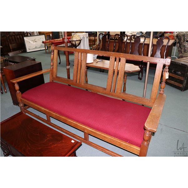 Antique quarter cut oak three seat sofa with removable upholstered seat, missing back panels