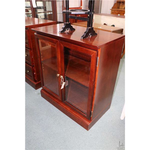 """Bombay cabinet with two glazed doors 32"""" high and a three drawer chest also Bombay Company"""