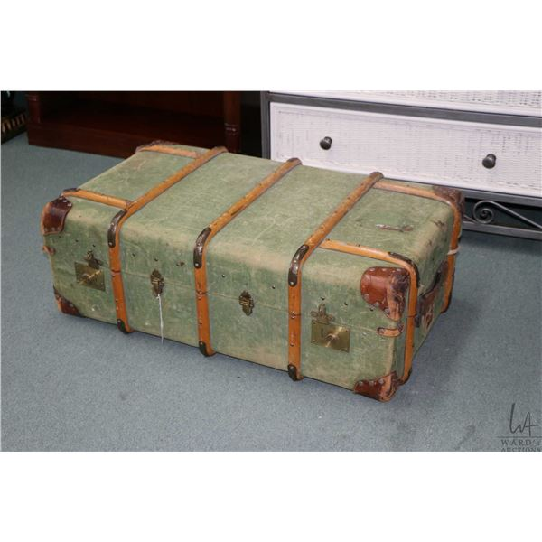 Antique wood bound steamer/ suitcase