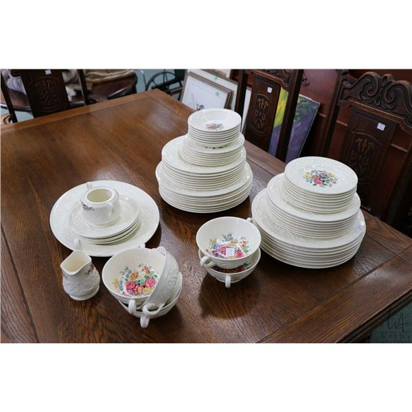 """Selection of Wedgwood Patrician """"Coniston"""" tableware including sixteen dinner plates, sixteen lunche"""
