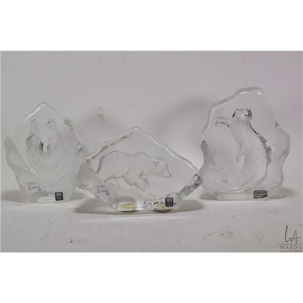 Three Swedish lead crystal sculptures by Mat Jonasson including a bear, a wolf and an otter