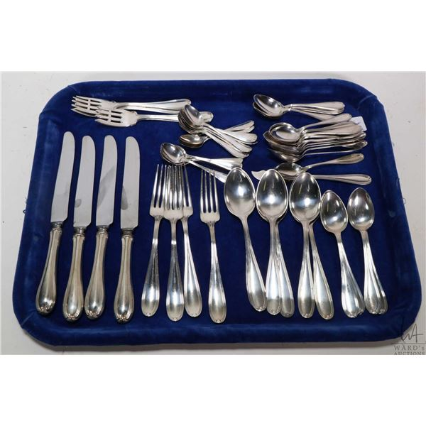Tray lot of sterling silver flatware including four dinner knives, four dinner forks, four salad/des