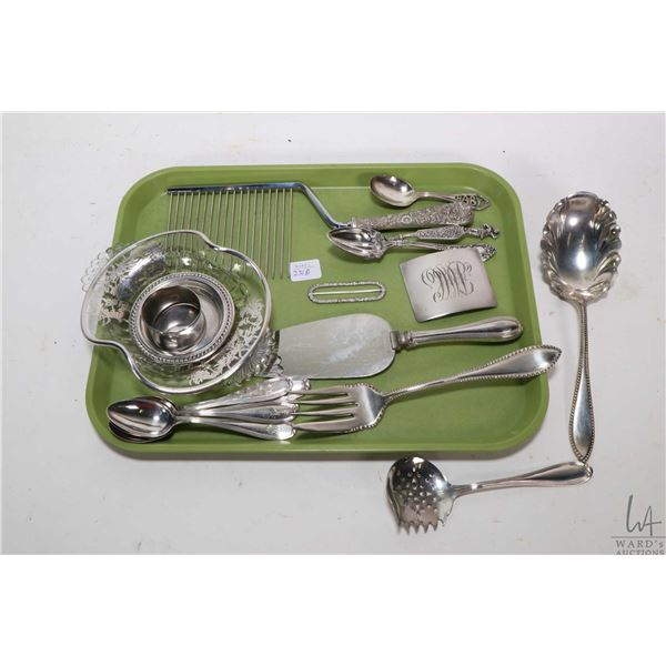Tray lot of sterling silver and silver plate collectibles including sterling napkin ring, small dish