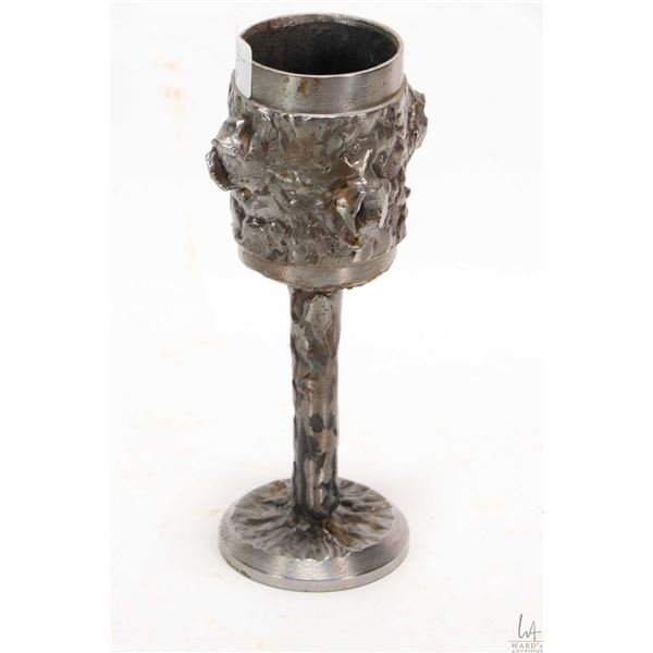 "Artisan made Roy Leadbeater goblet style welded white metal candleholder 8"" in height"