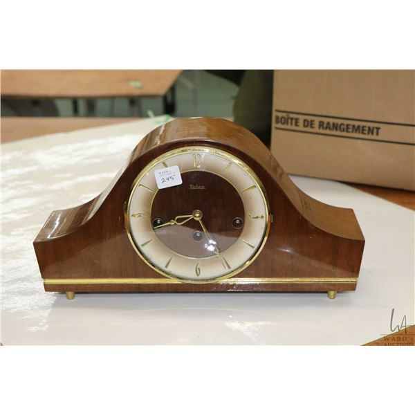 Small vintage chiming mantle clock made Telep, working at time of cataloguing
