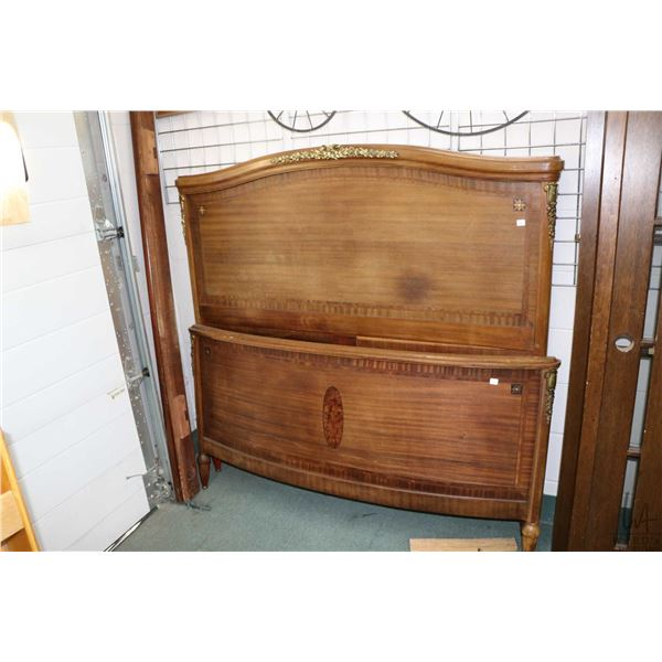 Antique double sized bed with headboard, footboard and rail, decorated with inlaid burl panels and s