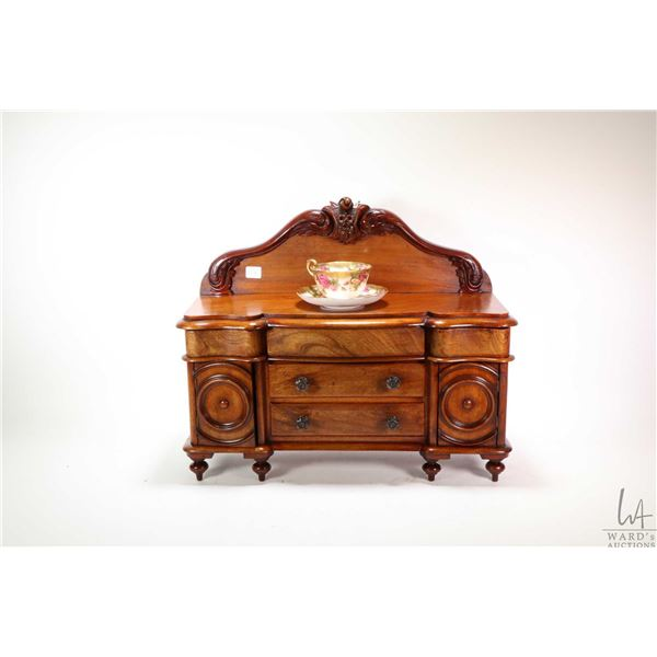 Antique Victorian mahogany salesman sample miniature sideboard with carved backboard, five drawers a
