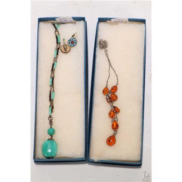 """Sterling silver and tear drop amber necklace 18"""" plus a pair of Liz Palacios designer earrings and a"""