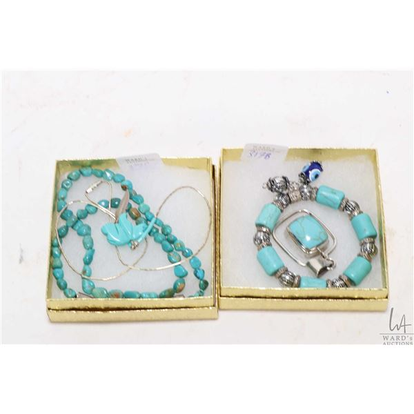 Selection of turquoise jewellery including beaded bracelet, sterling silver pendant, beaded necklace