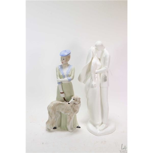 """Two Royal Doulton figurines including Wedding Day HN2748, 13"""" in height and Park Parade HN3116 signe"""