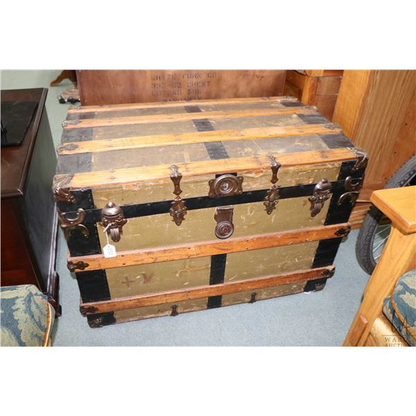 Antique oak bound trunk with replaced tray
