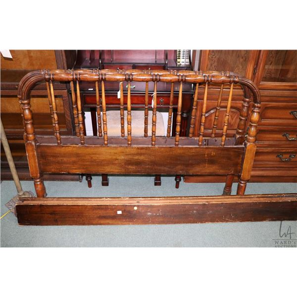 """Antique turned wood bed frame with headboard, footboard and rails, approximately 52"""" wide"""