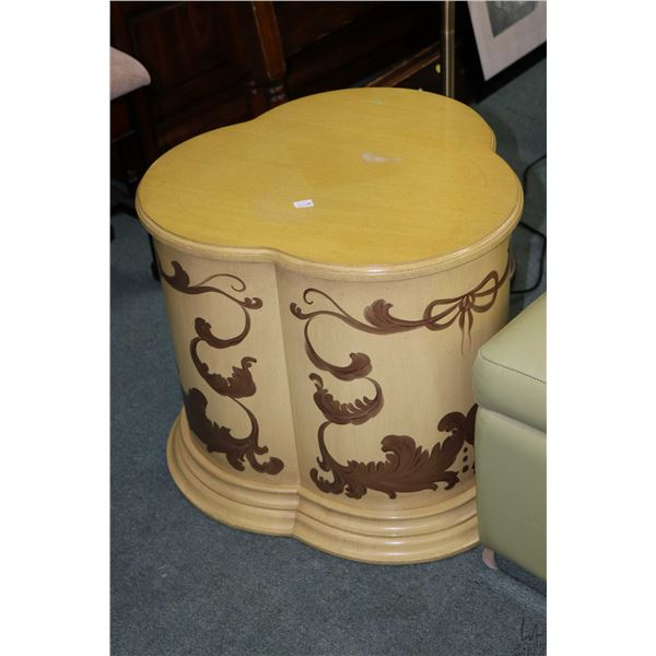 French style club shaped side table with single door and hand enamelled scroll work decoration. Not