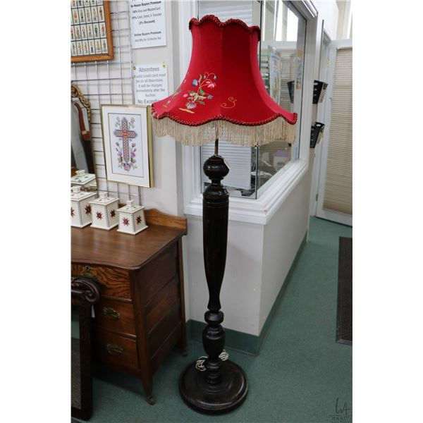 Antique floor standing lamp with Geisha figure decoration and red shade. Not Available For Shipping.