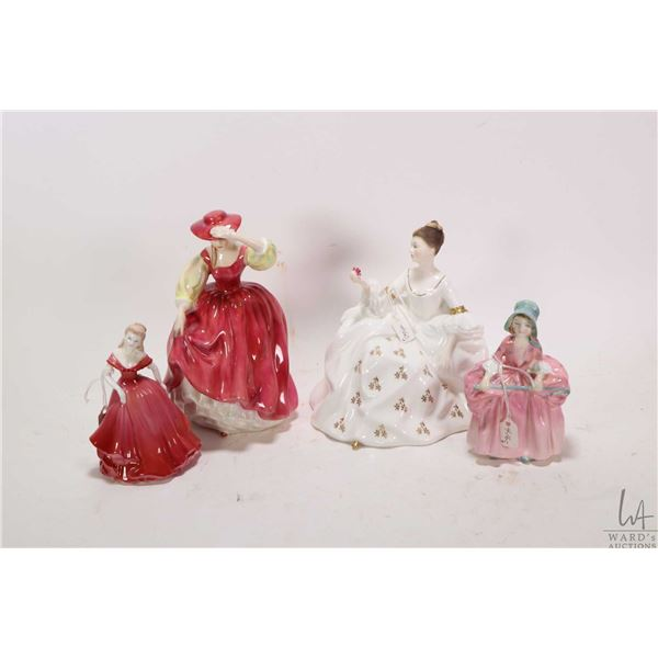 Four china figurines including Royal Doulton Buttercup HN2399, Royal Doulton Bo-Peep HN1811, Royal D