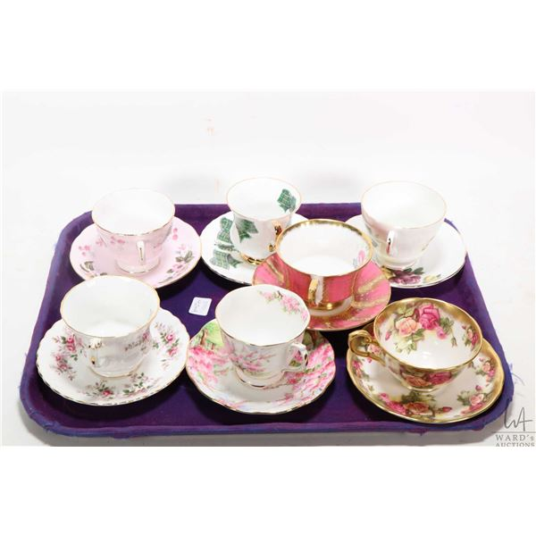 Seven china cups and saucers including Royal Albert, Royal Chelsea, Paragon etc. Not Available For S