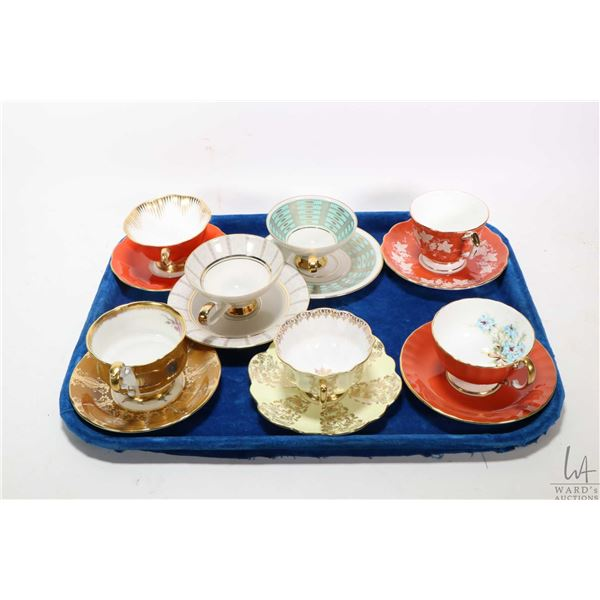 Seven teacups and saucers including Royal Albert, Aynsley, Paragon etc. Not Available For Shipping.