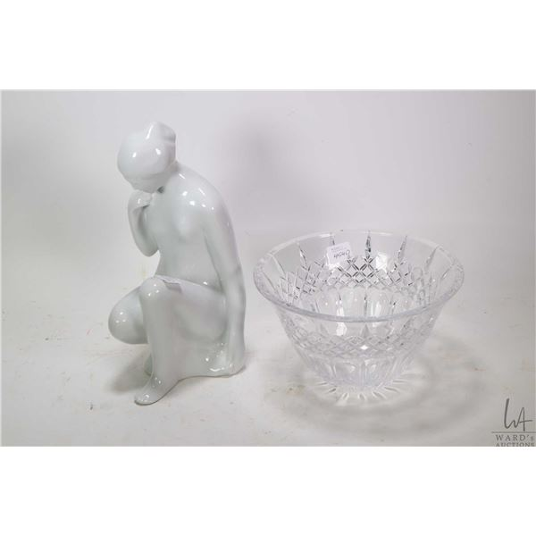 """A Marquis by Waterford crystal bowl and an 11"""" high Royal Dux nude No. 737/27"""
