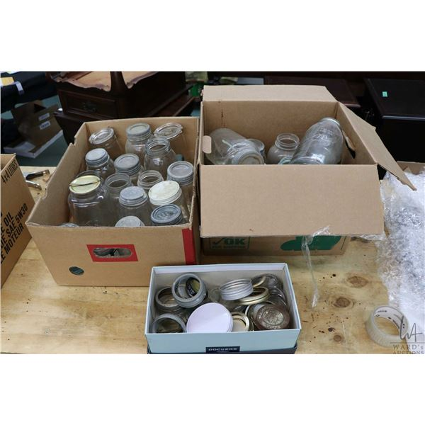 Two boxes of assorted vintage glass sealer jars including Imperial, Gem etc. Not Available For Shipp