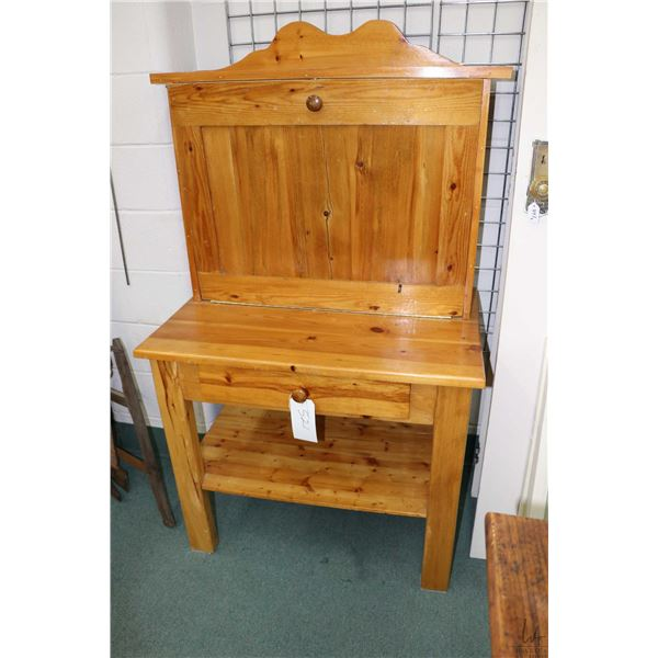 Hand crafted soft wood fall front desk with single drawer. Not Available For Shipping. Local Pickup