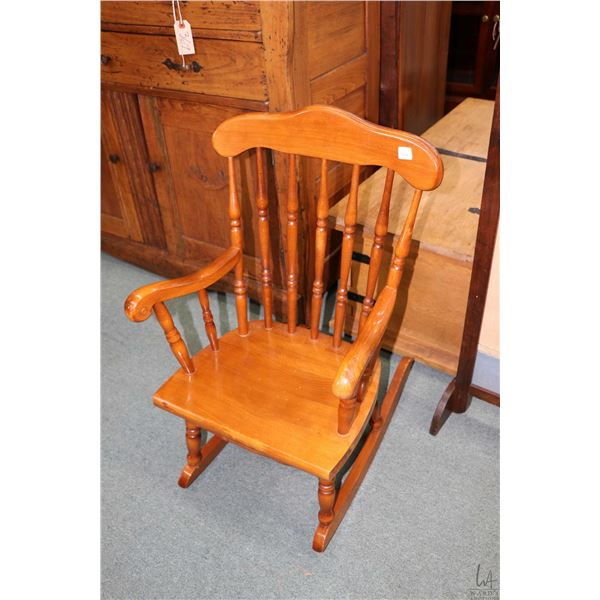 Child sized maple spindle back rocking chair