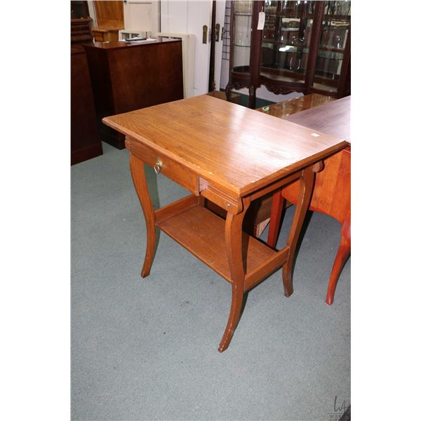 Antique single drawer occasional table/ library table with under shelf
