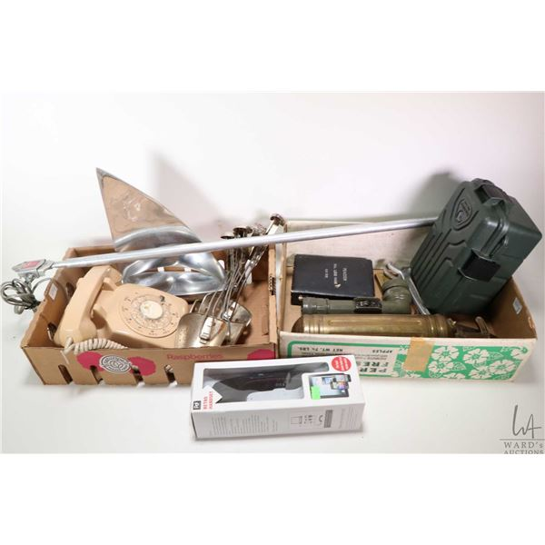 Selection of collectibles including dial telephone aluminium sailboat, shoe stretchers, Peacock Dial