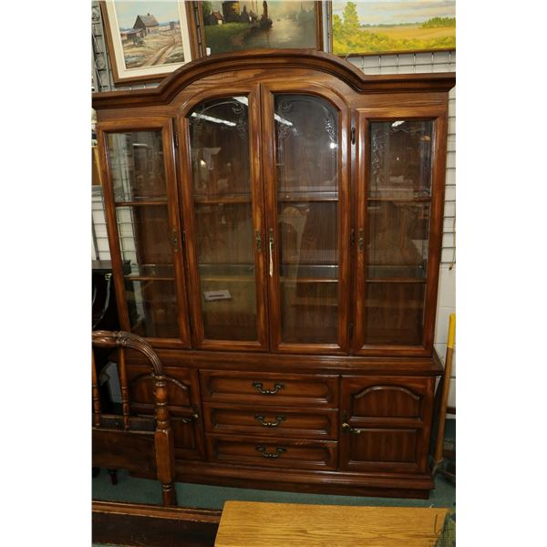 """Semi contemporary oak chest on chest display cabinet with illuminated hutch and glass shelving 79"""" i"""