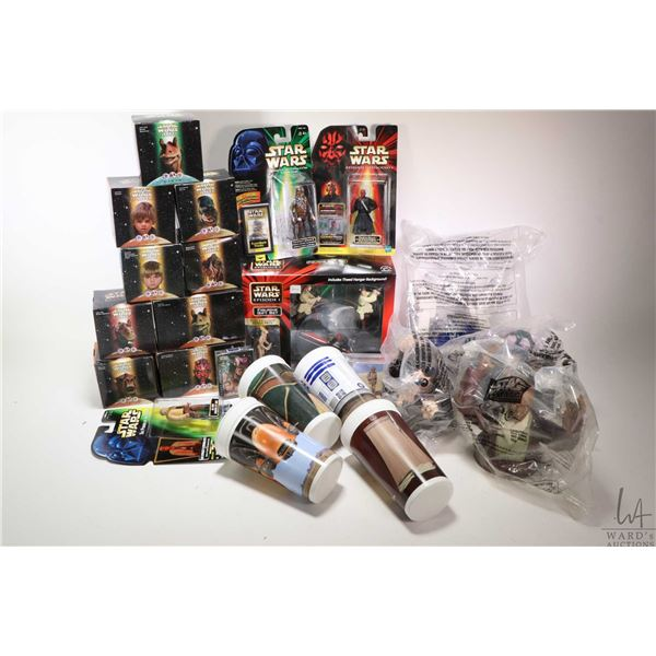 Selection of new in box Star Wars collectibles including restaurant collectibles: Hovering Watto, Ja