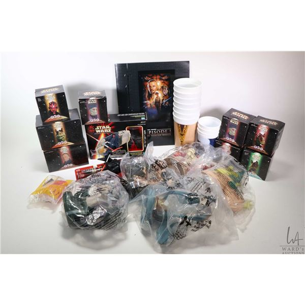 Selection of new in box Star Wars collectibles including restaurant collectibles:Jar Jar Binks squis