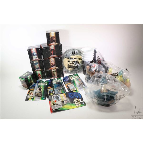 Selection of new in box Star Wars collectibles including restaurant collectibles: R2D2, walking Sebu