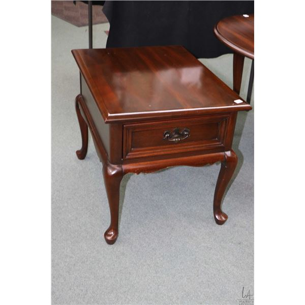 Single drawer solid mahogany side table made by Gibbard