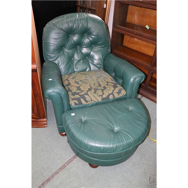 Button tufted overstuffed parlour chair with ottoman