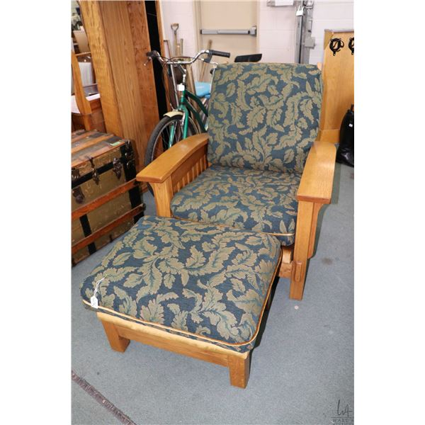 Modern Mission style chair and matching ottoman