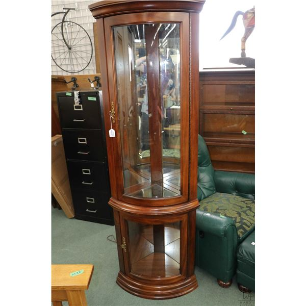 """Contemporary curved glass corner cabinet with illumination and glass shelving 72"""" in height"""