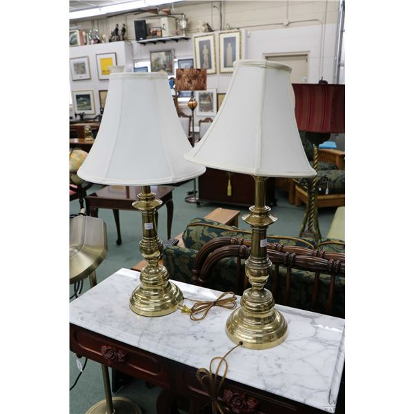 Pair of matching brass table lamps and a floor standing Verilux floor lamp with Optics glare control