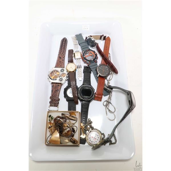 Selection of gent's wrist watches including Armitron, Oulm, Tiumes, Geneva, etc. plus a selection of