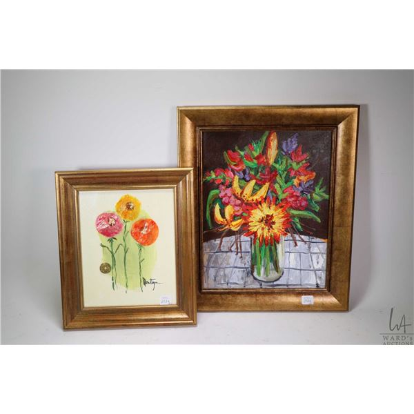 """Two original still-life on canvas paintings including mixed media signed by artist Montague, 10"""" X 8"""