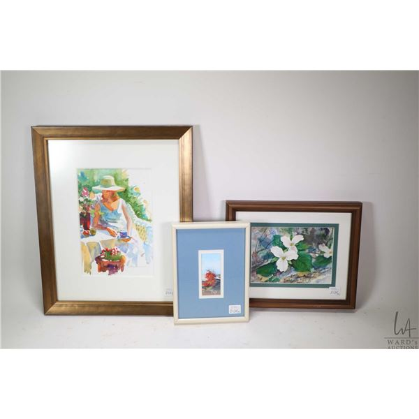 Four small original paintings, assorted artists including Anne Reimer, Paque, Eric Slayton and Beatr