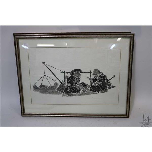 Three framed Oriental ink on paper prints