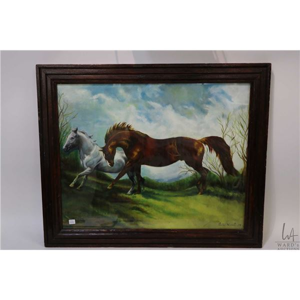 """Framed original oil painting of two horses in a meadow, signed by artist Shirley Mungall 1978, 24"""" X"""