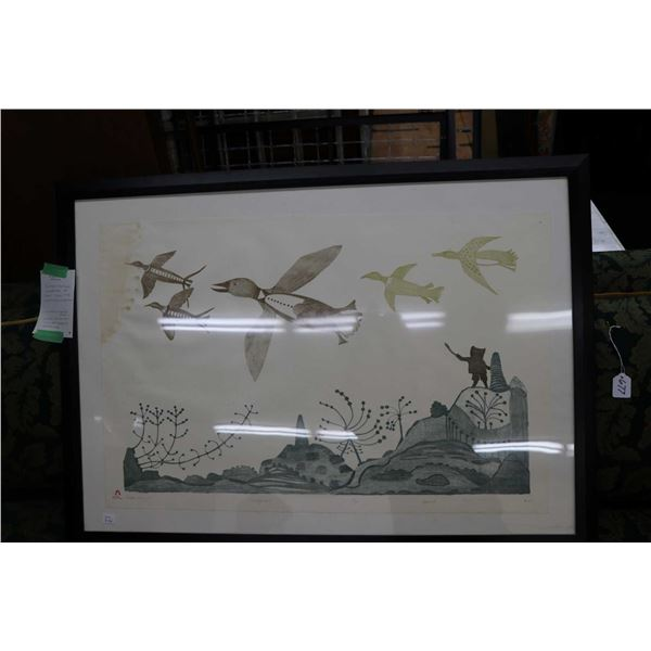 """Framed limited edition lithograph titled """"Timiat Timijut"""" and signed in syllabics by Cape Dorset art"""